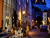 In the evening in the Schuster alley, Wasserburg at Inn river, Upper Bavaria, Bavaria, Germany