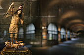 Figurine with reflection, Interior view of the San Agustin church, Intramuros, Manila, Philippines, Asia