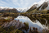 Snowcapped mountains reflecting in remote lake, Mount Cook Village, Mckenzie Country, New Zealand