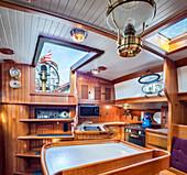 Below deck kitchen on houseboat