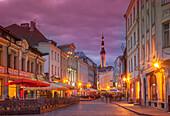 Illuminated street in cityscape, Tallin, Estonia