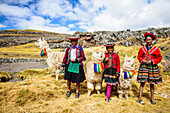 Hispanic mother and children standing with llamas in rural landscape