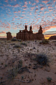 The Three Judges at sunrise, Goblin Valley State Park, Utah, United States of America, North America