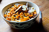Bowl with freshly collected chanterelle mushrooms, alp, holiday, Maria Alm, Berchtesgadener Land, Alps, Austria, Europe