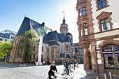 St. Nicholas Church with Nicholas Column, artist Andreas Stoetzer, centre of peaceful revolt against communist rule, Leipzig, Saxony, Germany, Europe