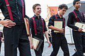Young singers walking to the concert, Bachfest Leipzig 2015, German and Chinese choir, intercultural exchange, Bach Academy, Leipzig, Saxony, Germany