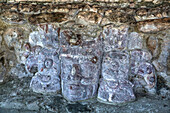 Carved stone masks, Temple of Masks, Edzna, Mayan archaeological site, Campeche, Mexico, North America