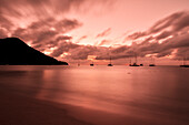 Sailing ships and boats at sunset, sea, Reduit Beach, Rodney Bay, St. Lucia, Saint Lucia, Lesser Antilles, West Indies, Windward Islands, Antilles, Caribbean, Central America