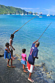 man and children are fishing, Port Elizabeth, island Bequia, St. Vincent, Saint Vincent and the Grenadines, Lesser Antilles, Westindies, Windward Islands, Antilles, Caribbean, Central America