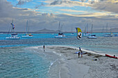 kite surfers on a beach at Baradel island, sailing ships and island of Mayreau, sea, Horseshoe Reef, Tobago Cays, St. Vincent, Saint Vincent and the Grenadines, Lesser Antilles, West Indies, Windward Islands, Antilles, Caribbean, Central America
