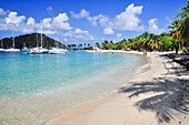 Beach with sailing ships, palms and bathing tourists, sea, Saltwhistle Bay, Mayreau, Tobago Cays, St. Vincent, Saint Vincent and the Grenadines, Lesser Antilles, West Indies, Windward Islands, Antilles, Caribbean, Central America