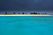Storm and thunderstorm clouds over a tropical beach, sea, Sandy Island, Carriacou, Grenada, Lesser Antilles, West Indies, Windward Islands, Antilles, Caribbean, Central America
