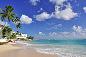 Beach with palm trees and villas near Accra beach, sea, south coast, Barbados, Lesser Antilles, West Indies, Windward Islands, Antilles, Caribbean, Central America