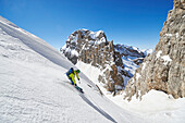 One Men is skiing offpiste from the Peak Cima Groste, Skitour, Brenta Gebirge, Dolomites, Trentino, Italien