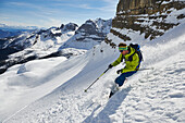 One man skiing from the peak of Bocchetta die Tres Cime in the Area of the Brenta Dolomites Madonna di Campiglio, Skitour, Brenta Gebirge, Dolomites, Trentino, Italien