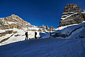 Two Men skitouring in the area of the Brenta Dolomites Madonna di Campiglio, Skitour, Brenta Gebirge, Dolomites, Trentino, Italien