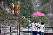 Temple with waterfall in the Taroko gorges at Taroko nationalpar, Taiwan, Republik China, Asia