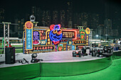 stage on occasion of Chinese New Year at horse racecourse Happy Valley at Wan Chai District, Hongkong Island, China, Asia