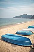boats lay upside down at bay of Tung Wan Beach, Cheng Chau Island, Hongkong, China, Asia
