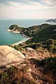 torquise water, lonely beach at Cheng Chau Island, Hongkong, China, Asia, long time exposure