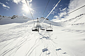 Chair lift and deep powder ski resort, Schnalstaler Glacier, South Tirol, Italy