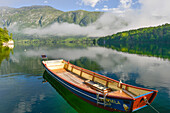 boat and reflection at Lake Bohinj, with mountains and wood in the background, Ribcev village, Stara Fuzina, Bohinj, Gorenjska, Julian Alps, Triglav National Park, Slovenia, Europe