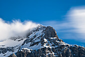 peak of Mount Triglav and clouds, highest peak in Slovenia, Vrata Valley, Triglav National Park, Julian Alps, Slovenia, Europe