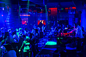 Party in the night club Mix Club, disco, dancing, DJ, techno, night life, Beijing, China, Asia
