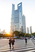Street scene Pudong, skyline of Shanghai, sunset, Shanghai Tower, Shanghai World Financial Center, Jinmao Tower, financial district, Shanghai, China, Asia
