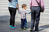 Little boy taking hands of mom and dad, crossing the street, zebra crossing, crosswalk, one child policy, Shanghai, China, Asia