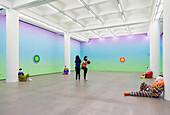 Exhibition, Rockbund Art Museum, visitors, rainbow, clowns, exhibition Breathe Walk Die by Ugo Rondinone, Sep 13, 2014 - Jan 4, 2015, art museum, Shanghai, China, Asia