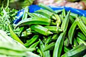 Okra, lady's finger, detail, green veggie, Tianzifang, vegetable market, fresh market, greens, vegetarian, Shanghai, China, Asia