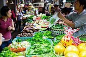 Tianzifang, buying vegetable, vegetable market, fresh market, greens, vegetarian, Shanghai, China, Asia