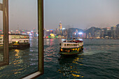 ferry terminal, pier, Star Ferry night-time, city lights, public transport, water, passenger boat, Victoria Harbour, Hong Kong, China, Asia