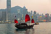 city lights, junk, red sails, public transport, tourist transport, harbour tour, water, passenger boat, Victoria Harbour, Hong Kong, China, Asia