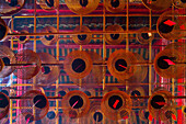 historic Man Mo temple, spiral incense coils, red, from below, graphic, traditional, religion, historic, detail, Hong Kong, China, Asia