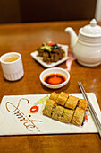 Springrolls, food, Chinese, teapot, tea, table, smile, presentation, restaurant, still life, Shanghai, China, Asia