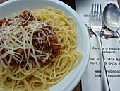 Spaghetti at Croda Da Lago Hut, Croda Da Lago, Dolomites, South Tyrol, Italy
