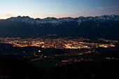 View from Patscherkofel to Innsbruck, behind the Karwendel, Tyrol, Austria