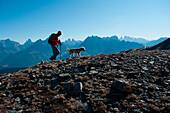 Ascend to Toblacher Pfannhorn, view to Sexten Dolomites, Dolomites, South Tyrol, Italy
