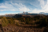 View from Puflatsch to Sella, Langkofel and Plattkofel, Dolomites, South Tyrol, Italy