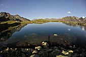 Lake Mutterberg in the Stubai Valley, view to the Stubai Alps, Tyrol, Austria