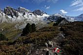 Hiking in the Kalkkoegel, Stubai Alps, Tyrol, Austria