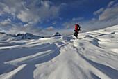 Snowshoeing on the Blaser, Stubai Alps, Tyrol, Austria