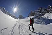 Climbing Piz Popena, Sexten Dolomites, South Tyrol, Italy