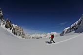 Climbing Piz Popena, View towards Three peaks, Sexten Dolomites, South Tyrol, Italy