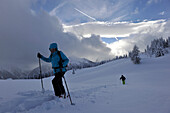 Ski tour in the Lesach Valley, View to the Dolomites, East Tyrol, Austria