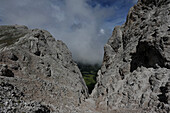 Little Peitlerkofel, View to Wuerzjoch, Geisler Group, Dolomites, South Tyrol, Italy
