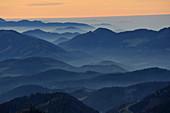 Sunset on Oetscher Mountain, View to the western Lower Austria, Lower Austria, Austria