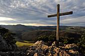 On the top of the Peilstein, View to Hafnerberg village, Lower Austria, Austria